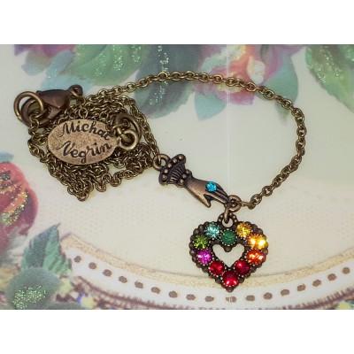 Michal Negrin Multicolor Mini Victorian Hand & Heart Necklace