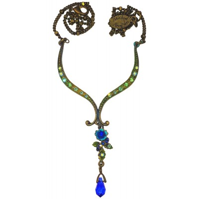 Michal Negrin Blue Drop Pendant Necklace
