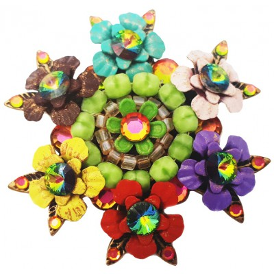 Michal Negrin Multicolor Flowers Retro Brooch
