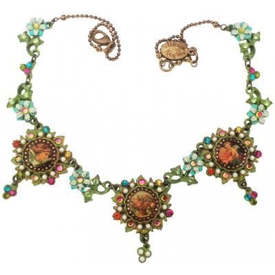 Michal Negrin Multicolor Cherubs Flowers Cameos Necklace