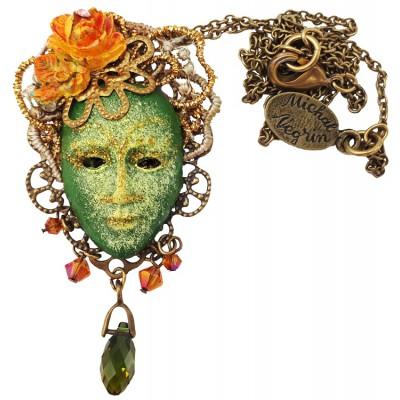 Michal Negrin Green Venetian Mask Necklace