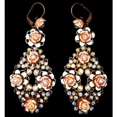 Michal Negrin Pearl Carved Roses Earrings