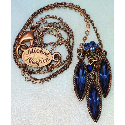 Michal Negrin Blue Rhombus Pendant Necklace