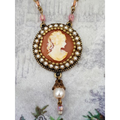 Michal Negrin Round Lady Cameo Pearl Necklace