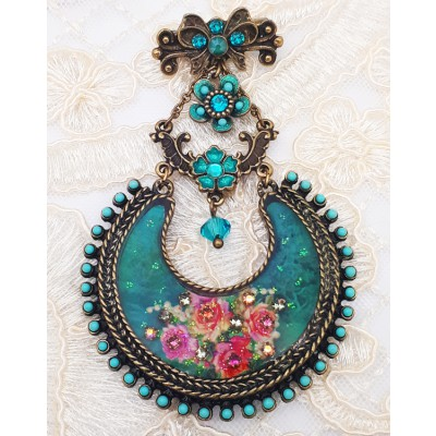 Michal Negrin Turquoise Roses Crescent Brooch