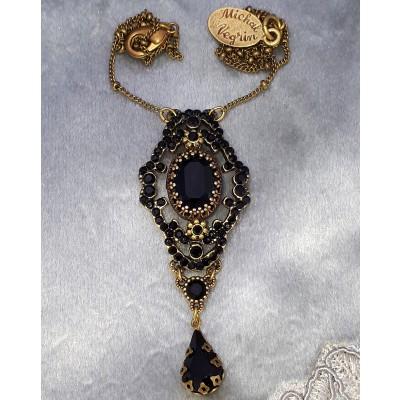 Michal Negrin Black Crystals Pendant  Necklace