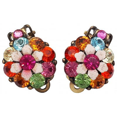 Michal Negrin Multicolor Crystals Clip Earrings