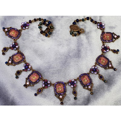 Michal Negrin Purple Rectangle Rose Cameos Necklace