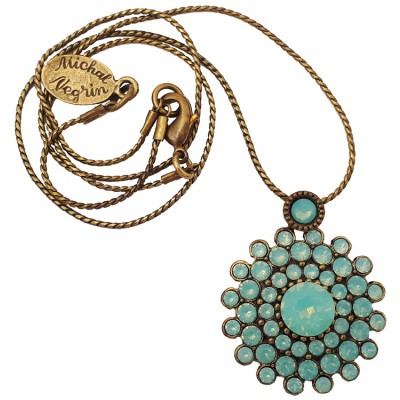 Michal Negrin Sea Green Round Pendant Necklace