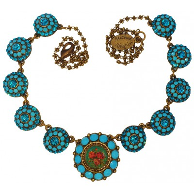 Michal Negrin Turquoise Circles Rose Cameo Necklace
