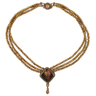 Michal Negrin Victorian Rose Cameo Bronze Beaded Necklace