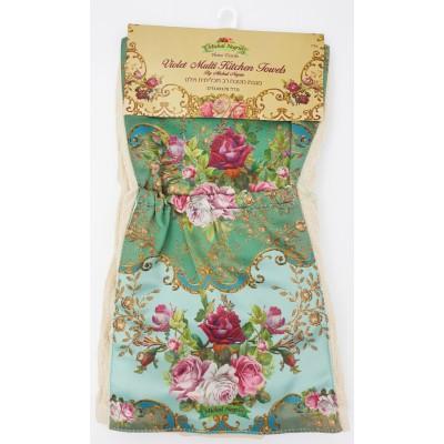 Michal Negrin Green Roses Satin Pockets Kitchen Towel