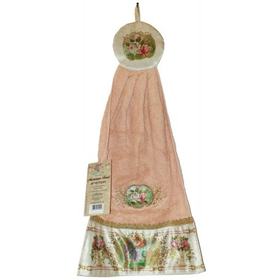 Michal Negrin Peach Roses Cotton Satin Towel