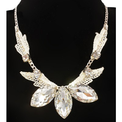 Michal Negrin Silver Crystals White Lace Necklace