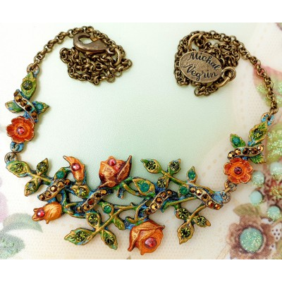 Michal Negrin Orange Bronze Briar Rose Necklace