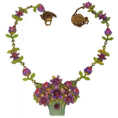 Michal Negrin Purple Flowers Basket Necklace