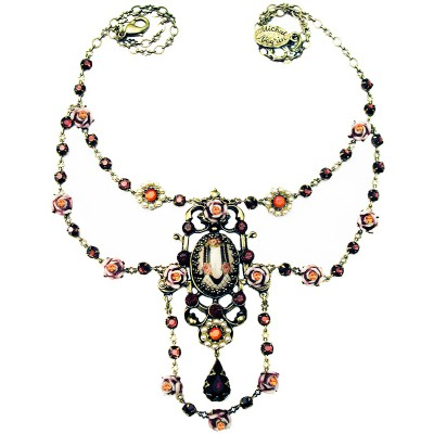 Michal Negrin Pearl Garnet Roses Cameo Necklace