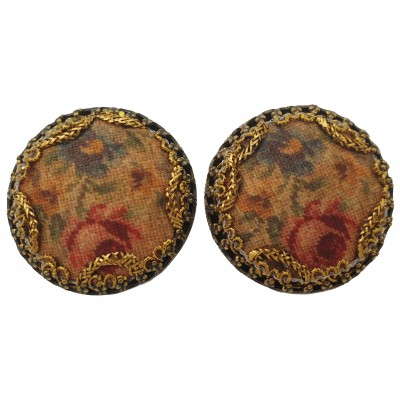 Michal Negrin Antique Silk Roses Clip Earrings