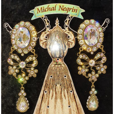 Michal Negrin Champagne Crystal Clip Earrings