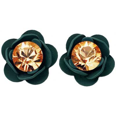 Michal Negrin Teal Peach Rose Stud Earrings