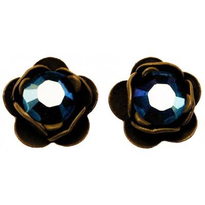 Michal Negrin Khaki Mirror Blue Rose Stud Earrings