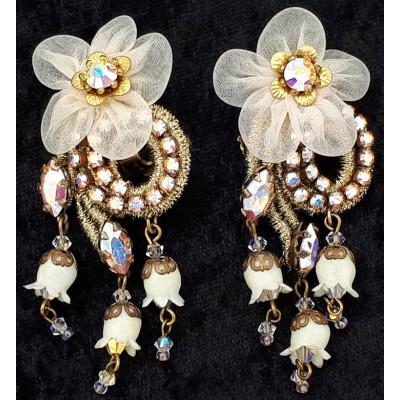 Michal Negrin White Lace Flower Clip Earrings