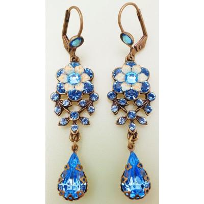 Michal Negrin Aqua Crystal Teardrop Earrings