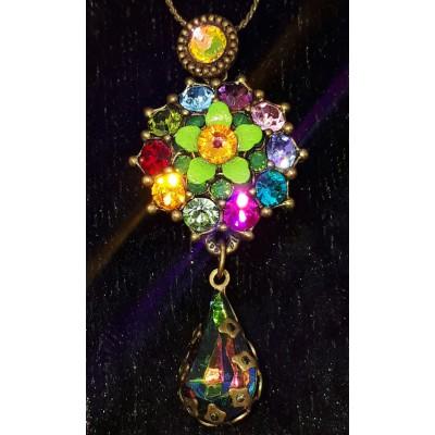 Michal Negrin Multicolor Flower Pendant Necklace