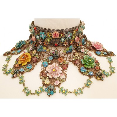 Michal Negrin Multicolor Roses Choker Necklace
