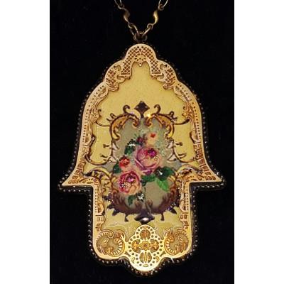 Michal Negrin Victorian Roses Filigree Hamsa Necklace