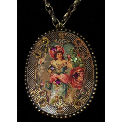 Michal Negrin Victorian Woman Oval Filigree Necklace