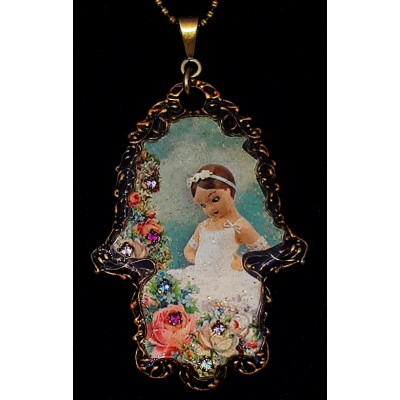 Michal Negrin Dancer Girl Hamsa Necklace