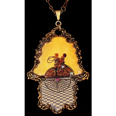 Michal Negrin Victorian Wheel Hamsa Necklace