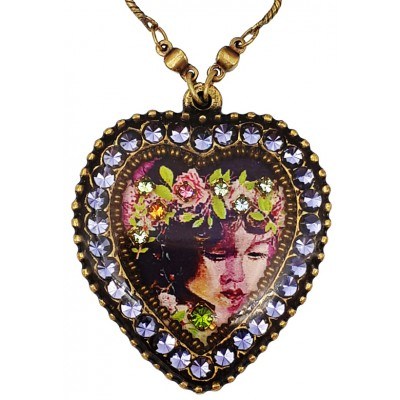 Michal Negrin Purple Fairy Crystal Heart Necklace