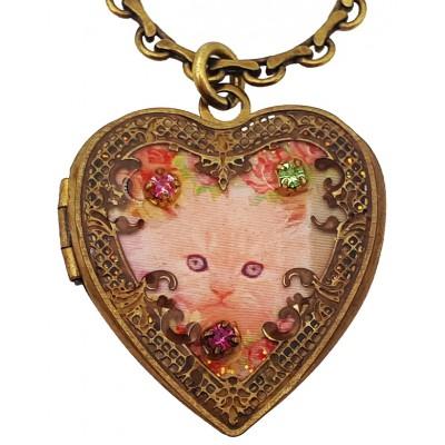 Michal Negrin Cat Heart Locket Necklace