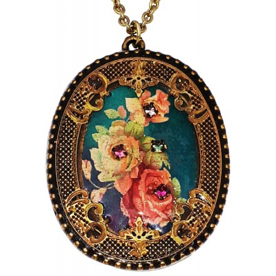 Michal Negrin Roses Oval Filigree Necklace