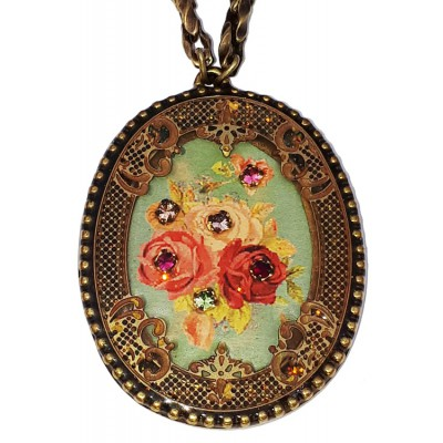 Michal Negrin Multicolor Roses Oval Filigree Necklace
