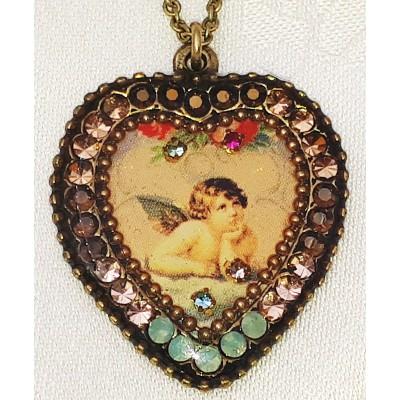 Michal Negrin Musing Cherub Crystal Heart Necklace