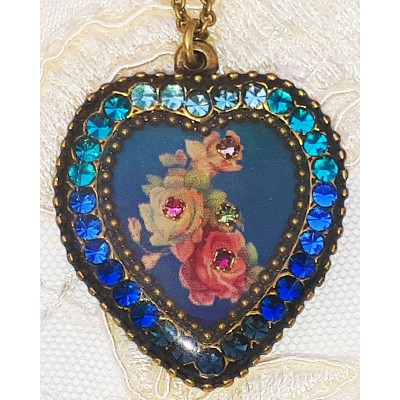 Michal Negrin Blue Roses Crystal Heart Necklace