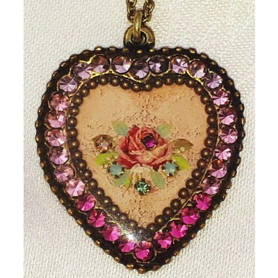 Michal Negrin Pink Roses Crystal Heart Necklace