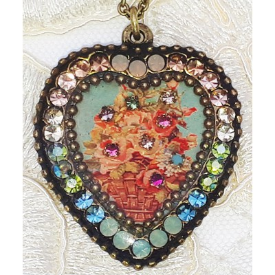 Michal Negrin Vintage Roses Crystal Heart Necklace
