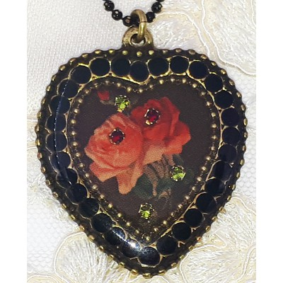 Michal Negrin Black Roses Crystal Heart Necklace