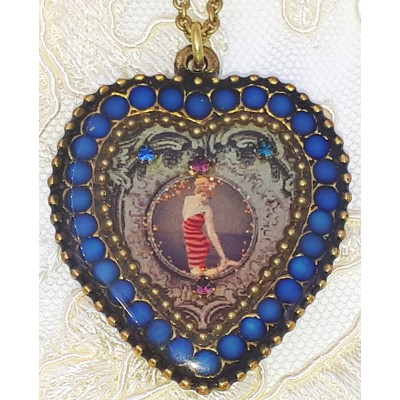 Michal Negrin Icy Blue Retro Swimmer Heart Necklace