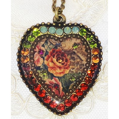 Michal Negrin Earth Tones Roses Crystal Heart Necklace