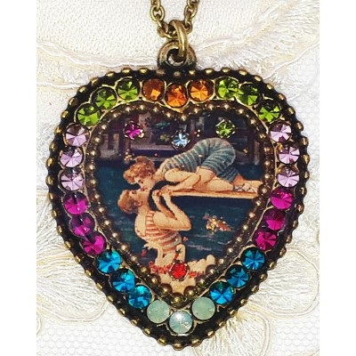 Michal Negrin Swimmers Kiss Crystal Heart Necklace