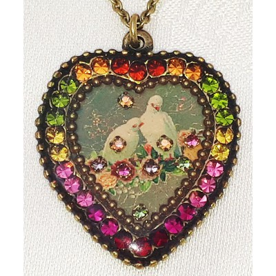 Michal Negrin Multicolor Peace Doves Crystal Heart Necklace