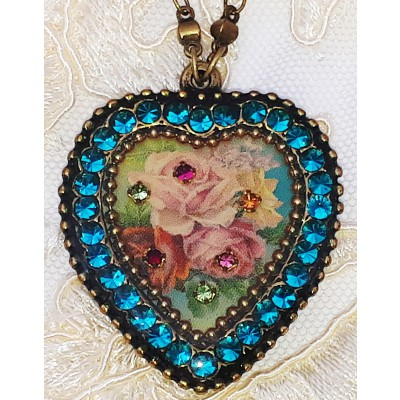 Michal Negrin Turquoise Roses Crystal Heart Necklace