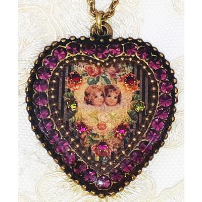Michal Negrin Purple Cherubs Crystal Heart Necklace