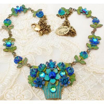 Michal Negrin Blue Flowers Basket Necklace