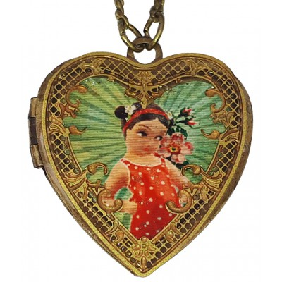 Michal Negrin Retro Girl Heart Locket Necklace